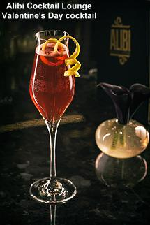 Alibi Cocktail Lounge Valentine's Day cocktail
