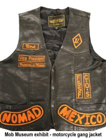 Mob Mmuseum exhibit - motorcycle gang jacket