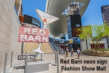 Red Barn neon sign Fashion Show Mall